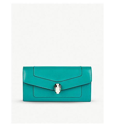 BVLGARI 长款皮革钱夹 (翡翠 + 绿色