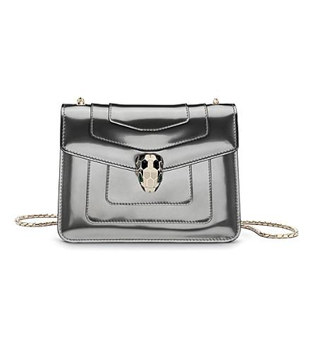 BVLGARI Serpenti Forever patent-leather shoulder bag (Metallic+silver