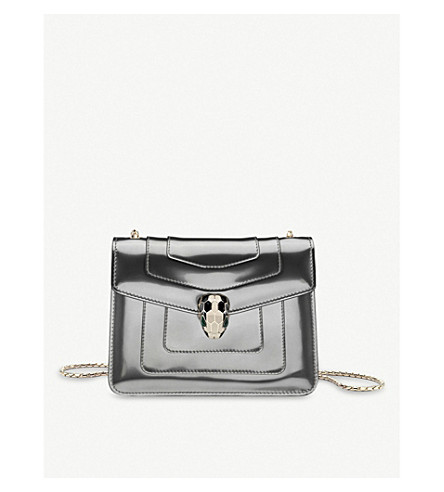 BVLGARI Serpenti Forever patent-leather shoulder bag (Silver