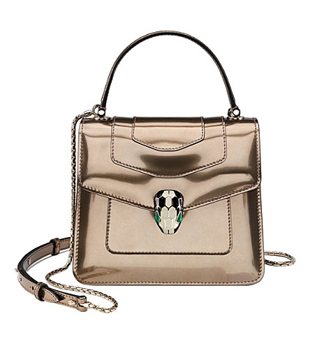 BVLGARI Serpenti Forever metallic leather shoulder bag (Metalic+bronze