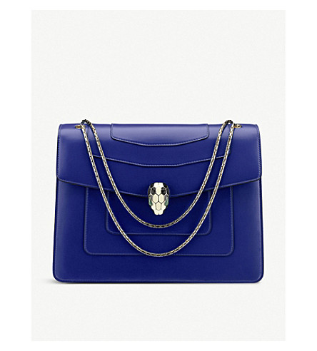 BVLGARI Serpenti Forever leather shoulder bag (Royal+sapphire