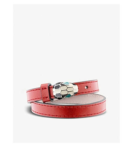 BVLGARI Serpenti Forever special edition leather bracelet (Ruby+red