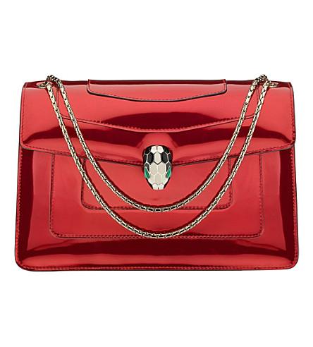 BVLGARI Serpenti Forever metallic-leather shoulder bag (Metallic red