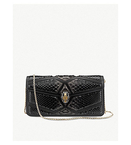 BVLGARI Serpenti Forever python-leather shoulder bag (Black+and+gold