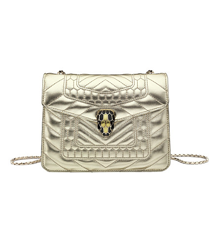 BVLGARI Serpenti Forever metallic-leather shoulder bag (Gold