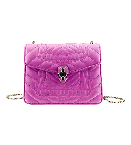 BVLGARI Serpenti Forever metallic-leather shoulder bag (Orchid+amethyst