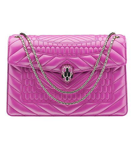BVLGARI Serpenti Forever leather shoulder bag (Orchid+amethyst