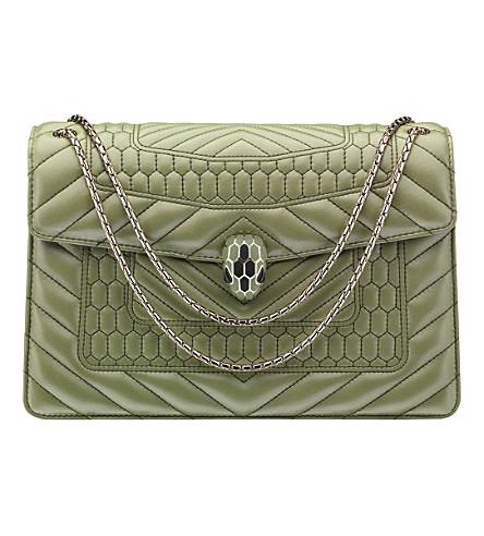 BVLGARI Serpenti Forever leather shoulder bag (Ivy tourmaline