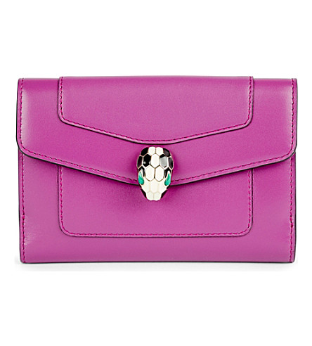 BVLGARI Serpenti Forever leather wallet (Orchid+amethyst