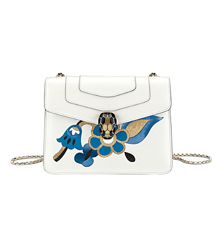 BVLGARI Serpenti Forever calf-leather shoulder bag (White+agate