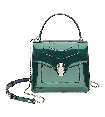 BVLGARI Serpenti Forever patent-leather flap bag