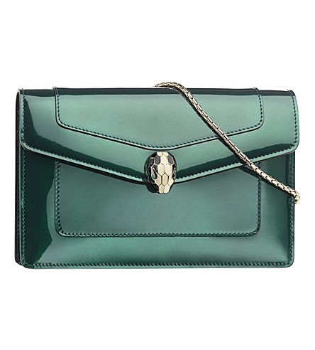 BVLGARI Serpenti Forever patent-leather pouch bag