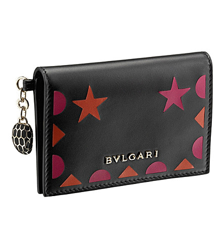 BVLGARI Serpenti Forever Star Studs leather card holder