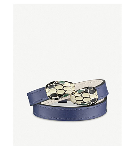 BVLGARI Serpenti Forever double-head leather bracelet