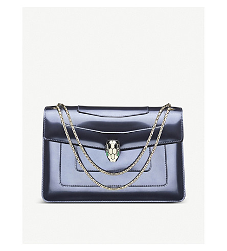BVLGARI Serpenti Forever metallic-leather shoulder bag