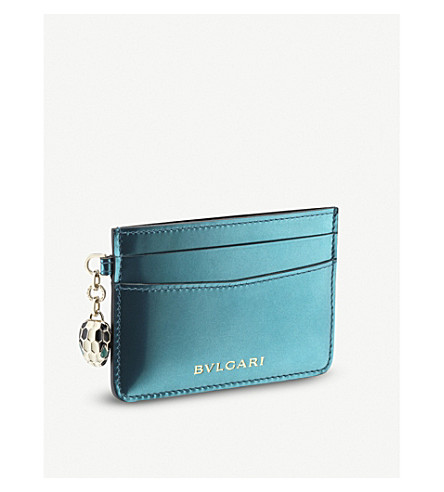 BVLGARI Serpenti Forever metallic-leather card holder