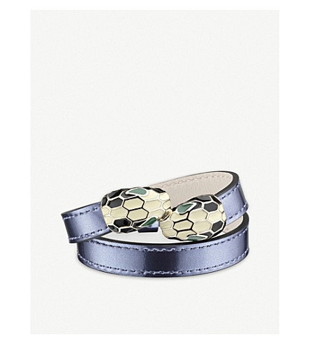 BVLGARI Serpenti Forever gold-plated and leather wrap bracelet