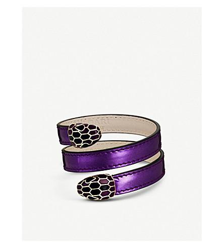 BVLGARI Serpenti Forever leather wrap bracelet (Wisteria+jade