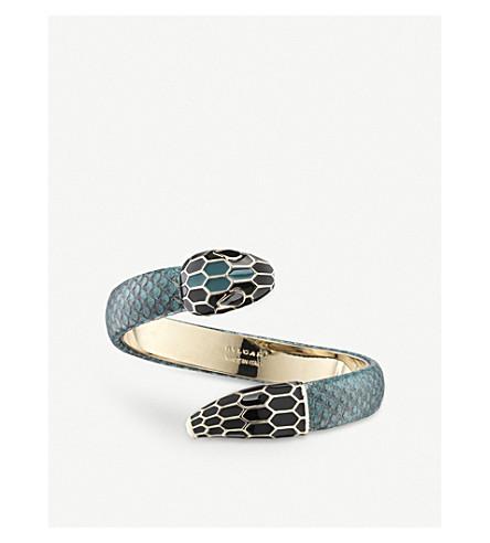 BVLGARI Serpenti Forever leather and enamel bracelet