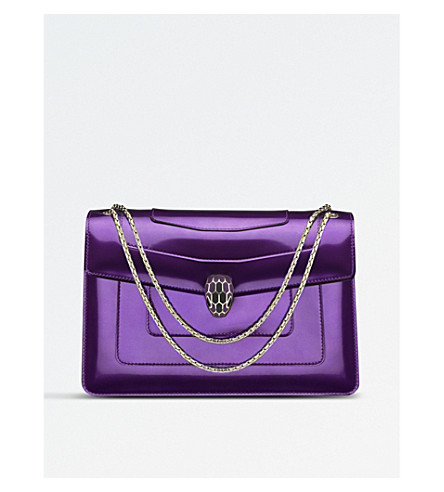 BVLGARI Serpenti Forever patent-leather shoulder bag (Wisteria+jade