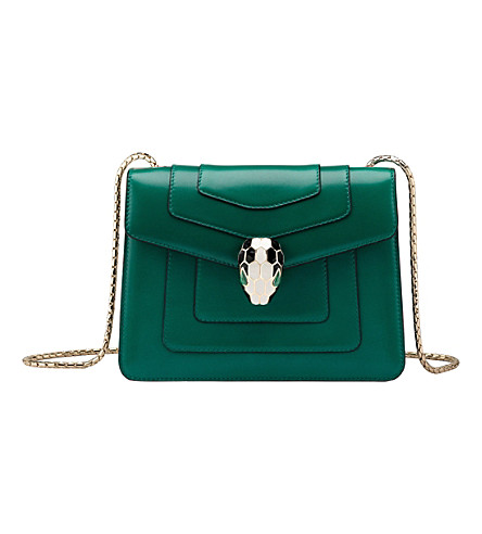 BVLGARI Serpenti Forever leather shoulder bag (Emerald+green