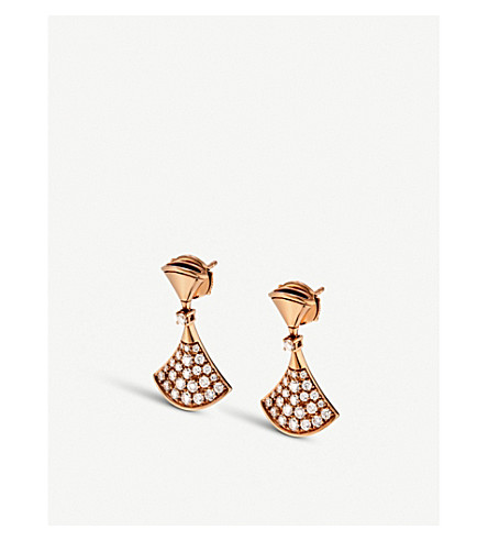 BVLGARI 18kt 粉红色金色和钻石耳环