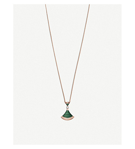 BVLGARI Divas' dream 18kt pink-gold, malachite and diamond necklace
