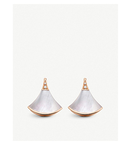 BVLGARI Divas' Dream 18kt pink-gold and mother of pearl earrings (Pink+gold