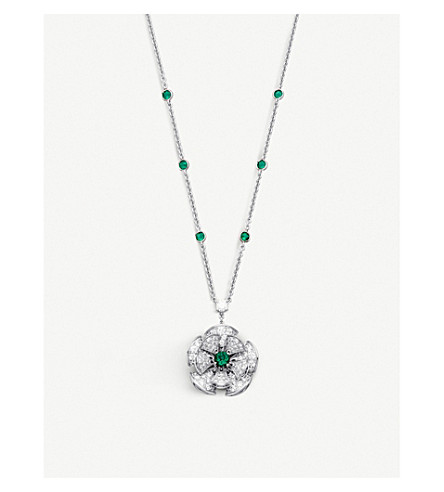 BVLGARI Divas' dream 18kt white-gold, diamond and precious gemstone necklace
