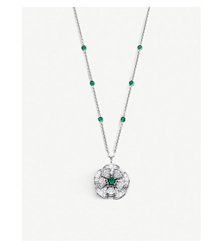 BVLGARI 女天后的梦想18kt 白金, 钻石和宝石项链