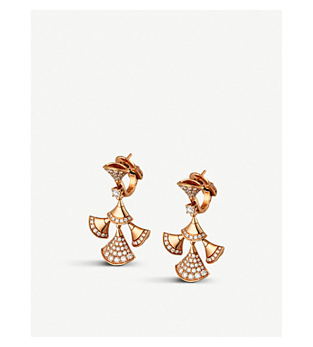 BVLGARI Divas' Dream 18kt pink-gold and diamond earrings (Pink+gold