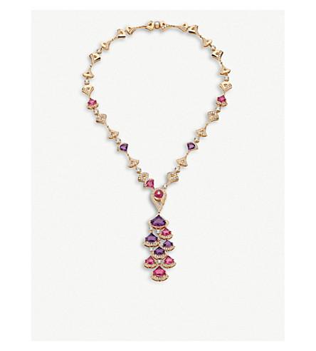 BVLGARI 天后的梦想18ct 玫瑰-金, 红色, 紫水晶, 电气石和铺钻石项链 (彩色 + 宝石