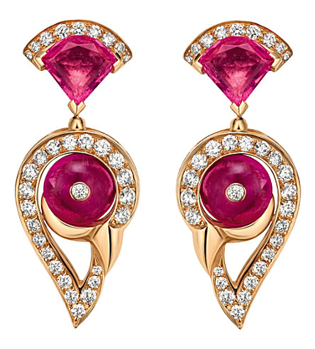 BVLGARI 天后的梦想18ct 玫瑰-金, 红色, 电气石和铺钻石耳环 (彩色 + 宝石
