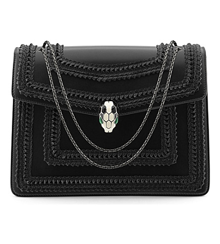 BVLGARI Serpenti Forever hobo leather shoulder bag (Black