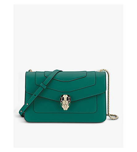 BVLGARI Serpenti Forever leather hobo shoulder bag (Emerald+green