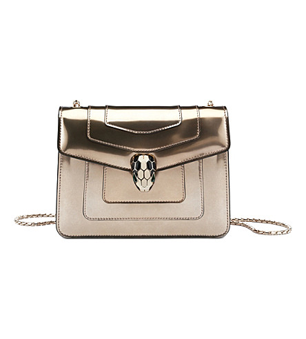 BVLGARI Serpenti Forever patent-leather shoulder bag (Metallic+bronze