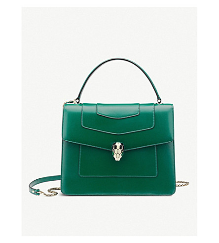 BVLGARI Serpenti Forever leather shoulder bag (Emerald+green