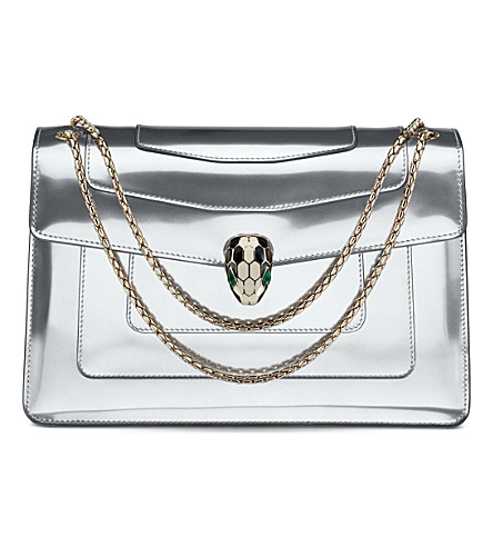 BVLGARI Serpenti forever leather shoulder bag (Metallic+silver