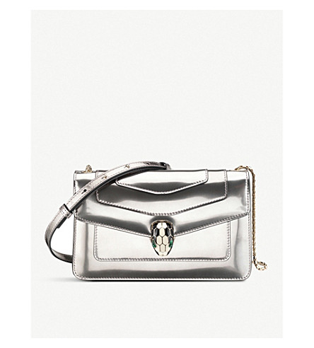 BVLGARI Serpenti Forever leather shoulder bag (Silver