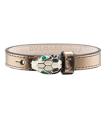 BVLGARI Serpenti leather bracelet (Antique+bronze