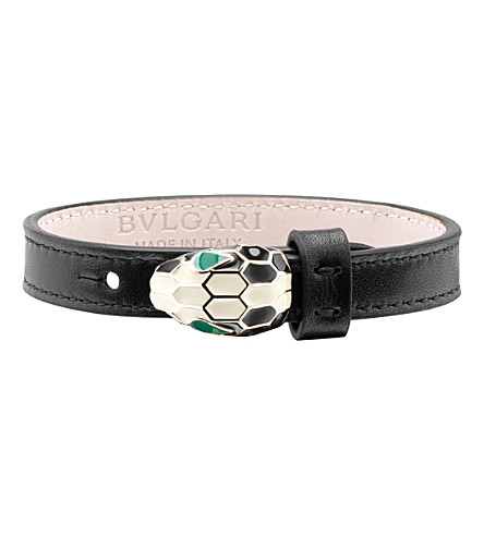BVLGARI Serpenti leather bracelet (Black