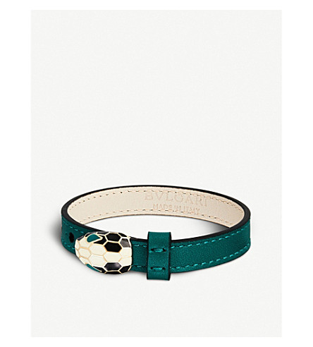 BVLGARI Serpenti leather bracelet (Emerald+green
