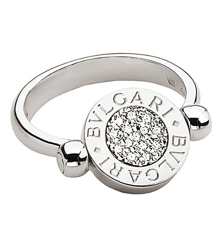 BVLGARI BVLGARI-BVLGARI 18kt white-gold and pavé-diamond flip ring