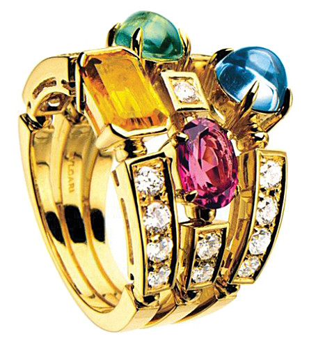 BVLGARI Allegra three-band 18kt yellow-gold, pink tourmaline, peridot, citrine quartz, blue topaz and pavé diamond ring