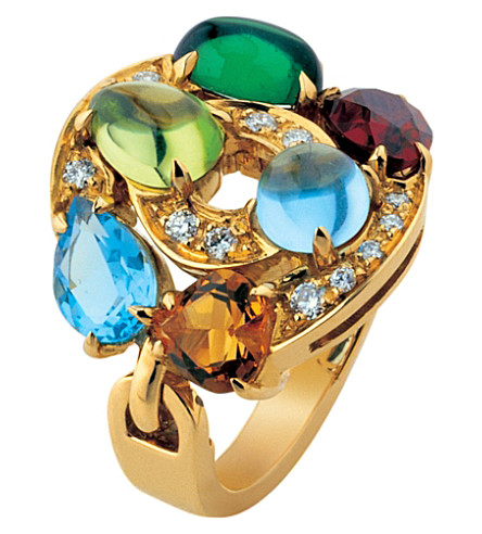 BVLGARI Astrale 18kt yellow-gold, blue topaz, green tourmaline, peridot, citrine quartz, rhodolite garnet and pavé diamond ring