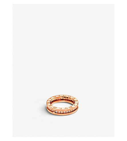 BVLGARI B.zero1 18kt pink-gold and diamond ring