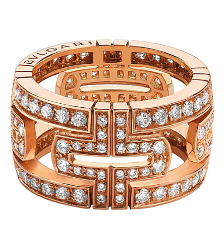 BVLGARI Parentesi 18kt pink-gold and pavé-diamond ring