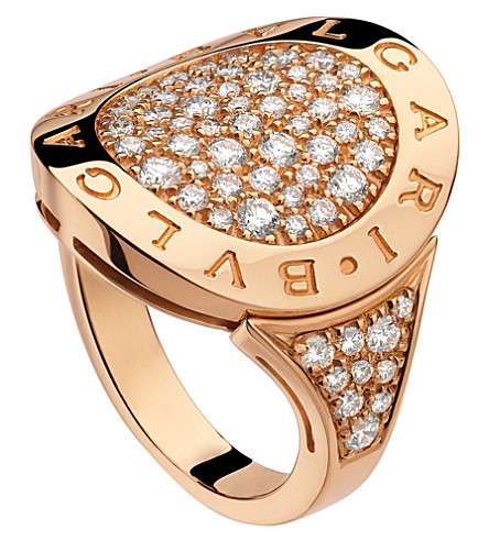 BVLGARI BVLGARI-BVLGARI 18kt pink-gold and pavé-diamond ring
