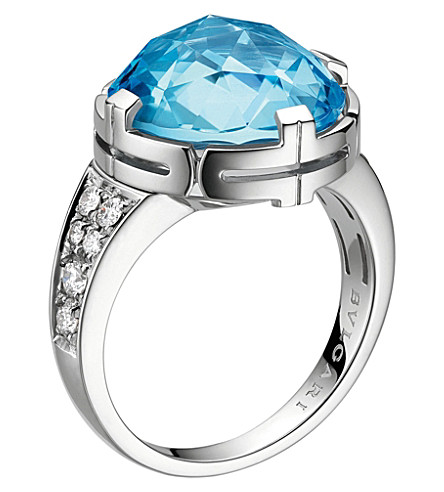 BVLGARI Parentesi 18kt white-gold, topaz and pavé-diamond cocktail ring