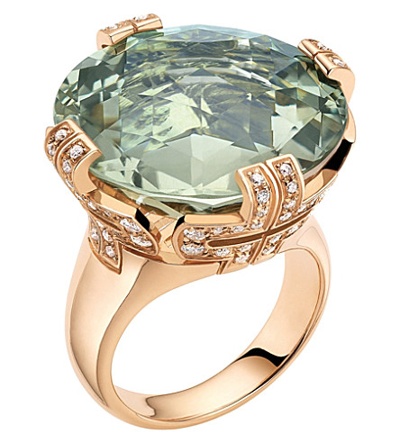 BVLGARI Parentesi 18kt pink-gold, green-quartz and diamond cocktail ring